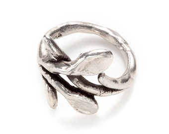 sculpted branch silver ring