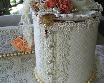 GIFT ITEM, Brides Keepsake, Wedding Memorabilia, Bridal Shower Gift, Vanity Organizer, Makeup Organizer,  Storage,Handmade, Shabby Cottage