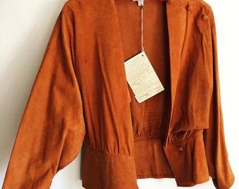 Vintage Buttery Soft Suede Jacket Blouse 1970s Boho Gypsy Festival Style