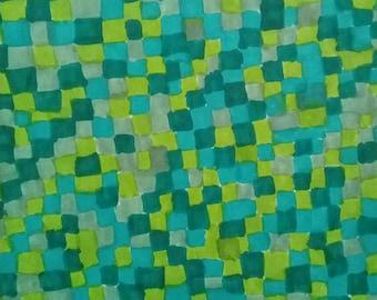 Abstract Tetris Patchwork Quilt Green