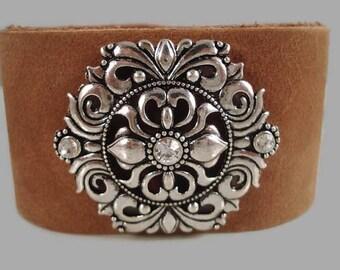 Leather Bracelet Boho Leather Bracelet Coachella Leather Jewelry Bohemian Bracelet Southwestern Concho Bracelet