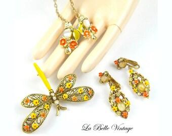 ART Dragonfly Brooch Earrings Sweater Clip Set Vintage Enamel Spring Jewelry