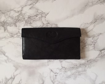 1960s graphite grey leather wallet / tulip flowers embossed billfold wallet
