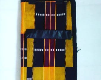 DrumStick Bag...Kente with Leather Accents