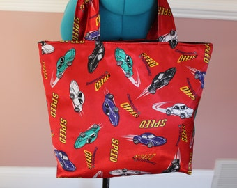 Tote Bag with Race Cars