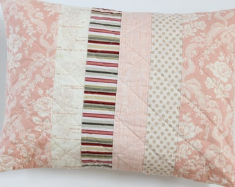 Pink Patchwork Pillow, Quilted Pillow Cover, Shabby Chic Decor