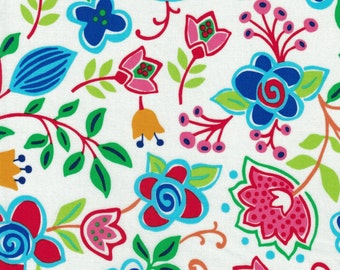 Bright Colored Birds & Flowers - Sundburn Gardens- Red Rooster Fabrics- 100% Cotton High Quality Quilting Fabric