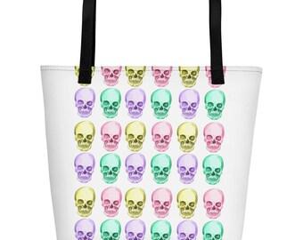Skull - Skulls - Yellow, Pink, Purple, Aqua - Beach Bag