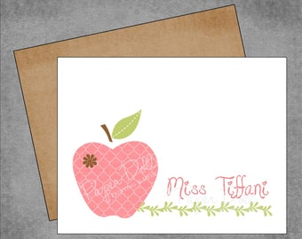 Teacher Note Cards - Coral Pink Moroccan Apple with Brown Flower - Custom Note Cards with Envelopes - Flat or Folded - 4.25x5.5 - Tiffani*