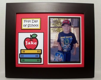 First Day of School Photo Keepsake Mat - Personalized - Back To School Picture Mat - UNFRAMED 8x10 Mat for 4x6 or 5x7 photo
