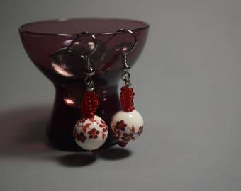 Red Twist Flower Bead Dangle Earrings