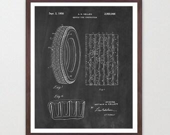 Car Tire Patent - Car Art - Car Patent - Tire Poster - Car Poster - Classic Car - Automotive - Garage - Mechanic - Auto - Car Wall Art