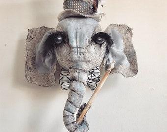 MADE TO ORDER Elephant Gentleman Faux taxidermy | wall mount | wall art | mounted head | elephant | nursery art | baby | boy |