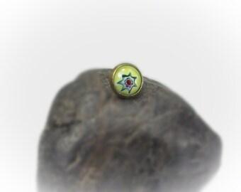 Single Earring Minimalist Earring Millefiori Earring Millefiori Jewelry Small Post Earring Stud Earring - 16073