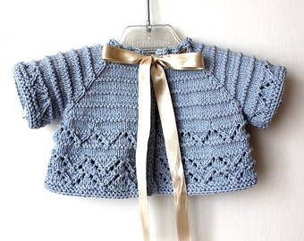 Knitting Pattern (pdf file) Baby Cardigan/Shrug (sizes 1/3/6/12/18 months