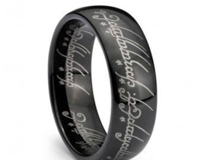 Black Plated Elvish Script  Lord Ring Tungsten Carbide Men & Women Laser-etched Wedding Band Ring - 7mm