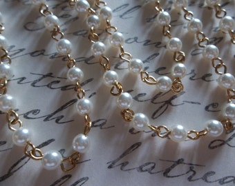 Beaded Chain - Pearl Bead Chain - Rosary Chain - 6mm White Pearls - Gold Bead Chain - Glass Pearls - Jewelry Supplies