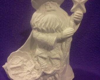 """Ocean Santa 10"""" Ceramic Bisque, Ready To Paint"""