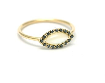 Black Diamond Ring, Simple Gold Ring, Diamond Gold Ring, Marquise Ring, Dainty Ring, Minimalist Ring, Engagement Ring, Mother of pearl Ring