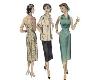 1950s Halter Dress Pattern Plunging Neckline Boxy Jacket Pleated Neckband Sheath Dress Butterick 6954 Bust 32 Vintage Sewing Pattern