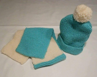 Lovely knitted hat and scarf set for 1 - 3 year old