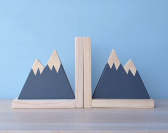 Navy Mountain Bookend, Mountain Bookends for Kids, Book Ends for Kids, Woodland Nursery Decor, Woodland Decor, Mountain Peak Decor,
