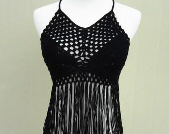 Black Fringe Crochet Halter Crop Top