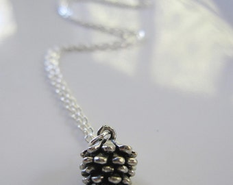 Silver Pinecone Necklace, Silver Pinecone Charm, Modern Necklace, Simple, Natural Elements, Everyday Necklace