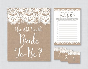 How Old Was the Bride To Be Game - Printable Burlap and Lace Bridal Shower Game - Guess the Bride's Age, How Old Was She - 0003