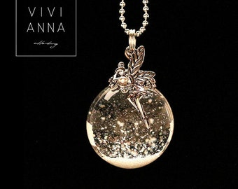 Snow Ball Chain 925 Silver & a fairy - k167