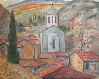 Vintage art oil painting expressionist landscape village church
