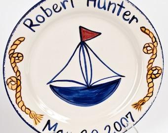 Custom Personalized Sailboat birth plate