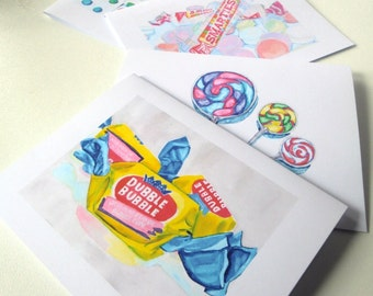 Candy Cards - Watercolor Art Notecards (Ed. 2), Set of 8