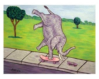 Elephant and Mouse Skateboarding Art Print