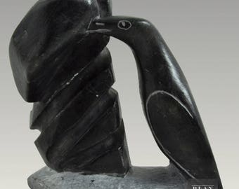 Original Inuit Sculpture Figural Aboriginal Bird Soapstone Carving Art Vintage