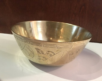 Vintage Solid Brass Bowl, Made In China, Asian Motif