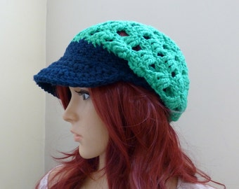The Urbanite - Slouchy Brimster  - in Deep Navy and Mod Green - 100 percent cotton yarns