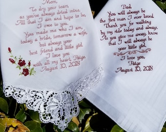 Mom and dad gifts, Mother and Father of the Bride or Groom wedding gift wedding day gift  By Canyon Embroidery