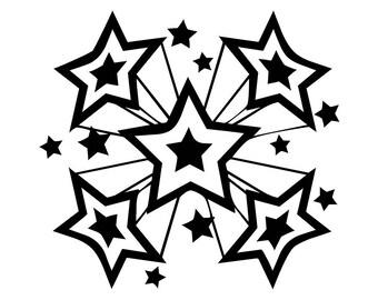 Stars 2 Explosion Disco Retro Vintage Shape Symbol Pattern Logo SVG EPS