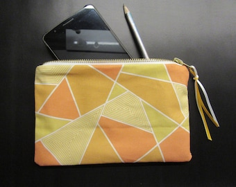 Yellow organic cotton clutch   Geometric patterns
