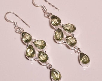 Green Amethyst Silver Plated/Overlay Earrings  Jewelry