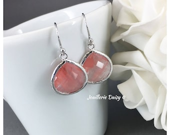 Bridesmaid Gift Bridesmaid Earrings Coral Earrings Maid of Honor Gift Mother of Groom Gift Mother of Bride Gift Wedding Earrings