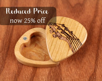 "DISCONTINUED - REDUCED PRICE Slender Guitar Pick Box, Fret, 2-1/4"" x 2"" x 3/4""D, Solid Cherrywood, Laser Engraved, Paul Szewc"