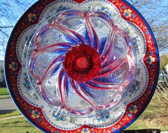 plate flower, glass flower, garden art, yard art, garden art,handmade, patriotic flower,Stars & Stripes,upcycled, repurposed glass art