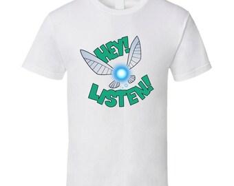 "Navi ""Hey! Listen!"" Legend of Zelda: Ocarina of Time White T-Shirt"