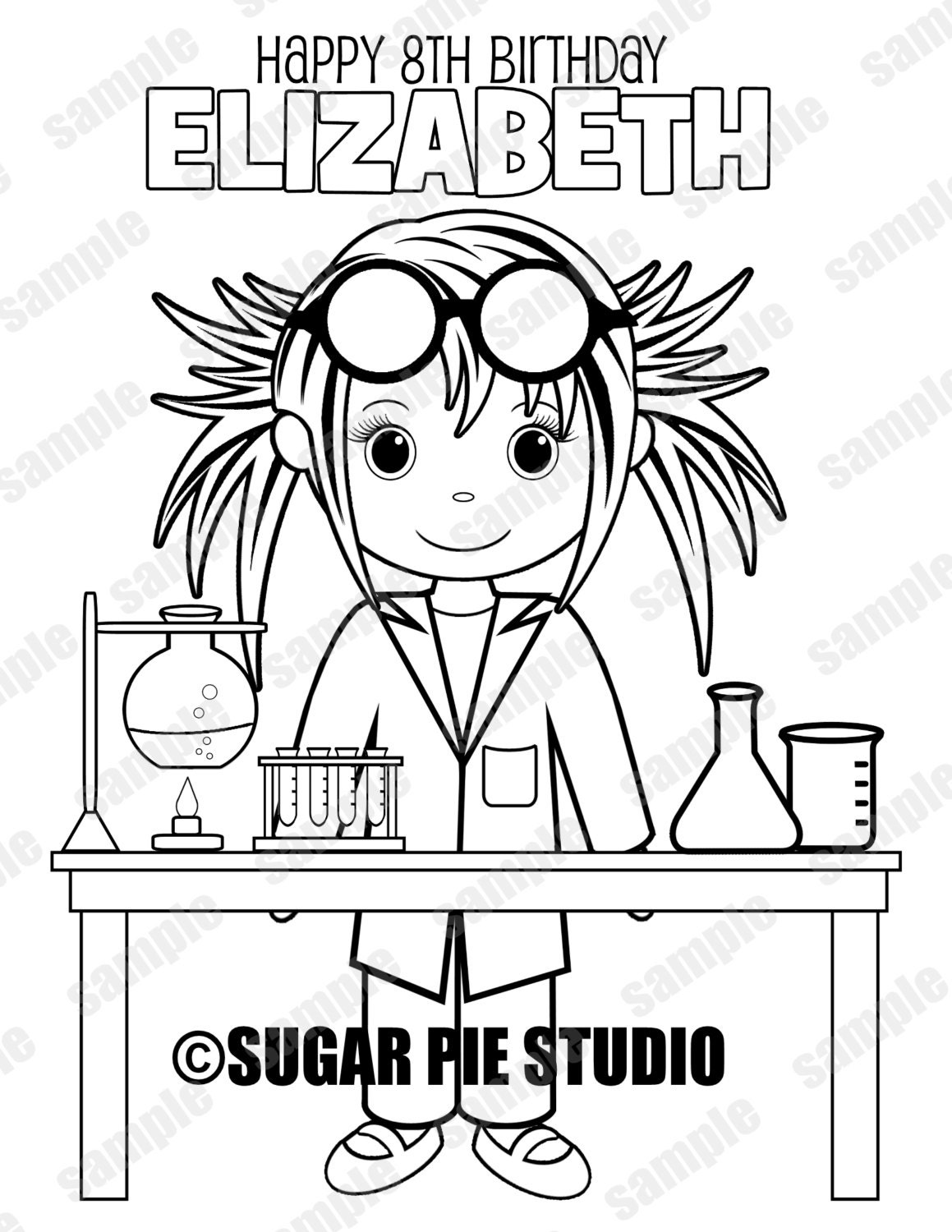 Mad Scientist Science coloring page Birthday Party Favor