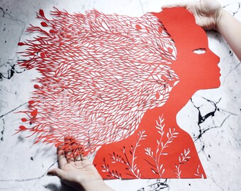 "Paper cut art work, hand cut paper cutting ""Plants"" original paper artwork in red color, art paper silhouette by Eugenia Zoloto , 2016"