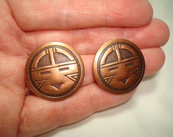 Vintage Hopi Indian Symbols Copper Pierced Earrings.