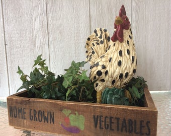 Home Grown Vegetables Crate - decorative crate - farmhouse decor - handmade crate - planter tray - wood crate