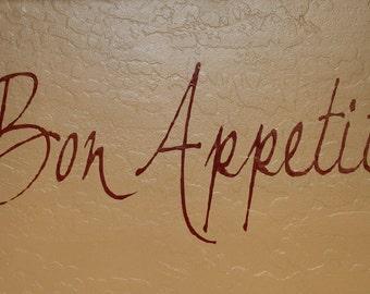 Bon Appetit Vinyl Lettering Wall Art // Bon Appetit Kitchen Sign